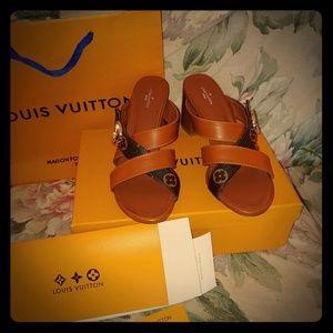 Monogram and brown low 2 inch block heels